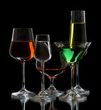 3 exponeringsglas wine Royaltyfri Foto