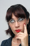3 eyeglasses κορίτσι headshot pinup αναδρομικό Στοκ εικόνες με δικαίωμα ελεύθερης χρήσης