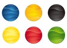 3 färgade knappar stock illustrationer