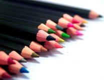 3 färgblyertspennor Royaltyfri Bild