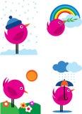 3 fåglar fyra symboler pink säsonger Arkivfoton