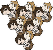 3 Faces Tessellation. Three cartoon faces with different expressions tessellating Stock Image