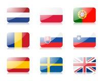 3 fackliga europeiska flaggor som ställs in Royaltyfria Bilder