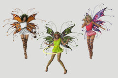 3 Fairies. 3 cute fairies in different poses and several colored dresses Stock Photo