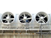 3 Fans. Three industrial white cooling fans Royalty Free Stock Photo