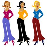 3 Fashion Girls Wearing Pants. An illustration clip art of 3 fashion model girls posing in colorful pants and tops against a white background. Blonde, black and Royalty Free Stock Photo