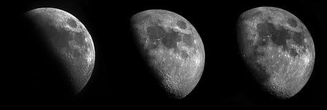 3 fasi della luna a mezzaluna Fotografia Stock