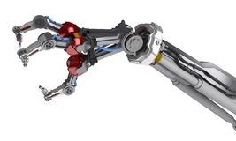 3 Finger Robotic Arm. 3d robotic arm, over white, isolated Stock Photography