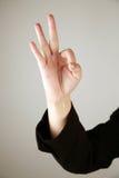 3 fingrar numrerar uppvisning Arkivfoton