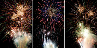 3 Fireworks pictures Stock Photography