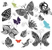 3 fjärilar inställd tatuering Arkivfoton