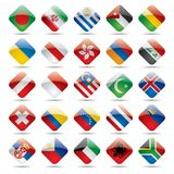 3 flaga zostanie opuszczona światowej ikony Obraz Stock