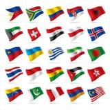 3 flagi zestaw świat Obrazy Royalty Free
