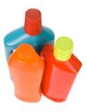 3 flessen verschillende detergentia Stock Afbeeldingen