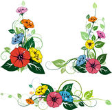 3 floral elements stock illustration