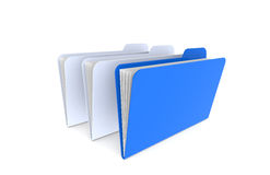 3 Folders. 1 Blue and 2 light Blue. Isolated on white Stock Photos