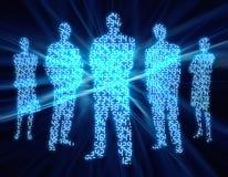 3 folk för binär siffra Arkivbild