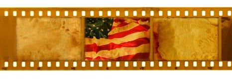 3 frame dos oldies 35mm com a bandeira velha dos EUA Ilustração Stock