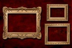 3 frames do ouro de encontro a um fundo de Grunge Imagens de Stock