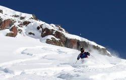 3 freeride滑雪者 免版税库存图片