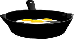 3 fried eggs illustration. 3 eggs being fried in a cast iron frying pan Royalty Free Stock Images