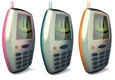 3 funny mobile cell phone in 3 different colors. 3 renders of a happy portable mobile phone Stock Photo