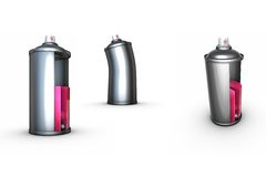 3 funny spray can grafitti. Render of 3 odd spray-cans sliced and bent Stock Photo