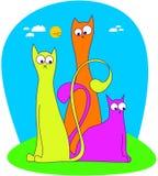 3 gatos divertidos stock de ilustración
