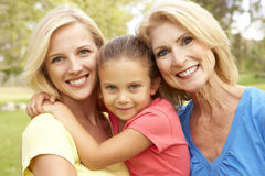 3 Generation Family In The Park Stock Image
