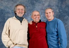 3 Generations. Grandfather, father, and son all in one photo royalty free stock photos