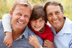 3 generations Hispanic men stock photo