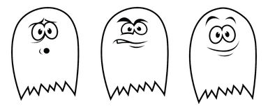 3 ghosts. Cartoon illustration of three Halloween ghosts Royalty Free Stock Photos
