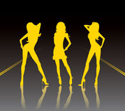 3 Girls. 3 yellow girls, vector illustration Royalty Free Stock Image