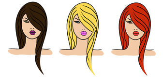 3 girls with different hair colour Royalty Free Stock Image