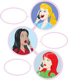 3 girls talking. Three lovely ladies talking on the phone Stock Photography