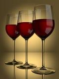 3 glaces de vin rouge Image libre de droits