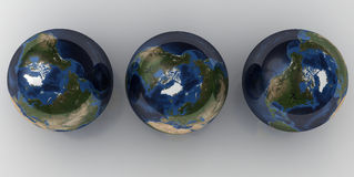 3 Globes. Various views of glossy globes from above Royalty Free Stock Photo