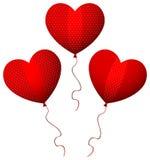 3 globos rojos del corazón del diseñador Fotos de archivo