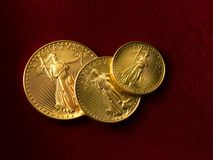 Free 3 Gold Liberty Coins Stock Image - 12236551