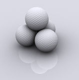 3 golf balls. Small stack of 3d rendered golf balls Royalty Free Stock Photo