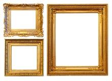 3 gouden frames Royalty-vrije Stock Foto's