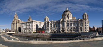 3 graces liverpool waterfront. Liverpool waterfront 3 graces buildings and the leeds - liverpool canal Royalty Free Stock Images