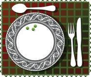 3 green beans on beautiful plate illustration Stock Photo