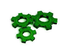 3 Green Gears Royalty Free Stock Photos
