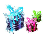 3 grungy gifts. Designed grunge & textured color gifts Royalty Free Stock Photos