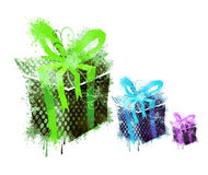 3 grungy gifts Royalty Free Stock Photos