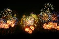 3 gruppi di fuochi d'artificio Fotografia Stock