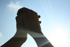 3 hands sky Стоковое фото RF