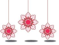 3 hanging flowers. 3 pink hanging flowers with shadows Royalty Free Stock Photo