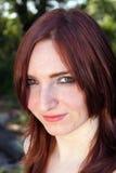 3 headshot可爱的室外红头发人 免版税库存图片